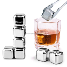 Customized Stainless Steel Whiskey Ice Cube Chilling Stones with Tongs Set of 8