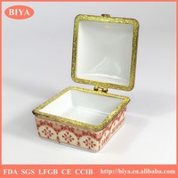 hot sale promotional custom handpainted white porcelain ceramic jewelry box square box or trinket box with beautiful scenery
