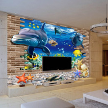 Special design anti-static TV background wall paper 3d sea world
