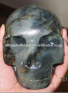Original labradorite quartz carved mysterious skull for collection
