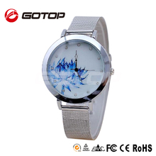 China wholesale elegance design slim stone decorated stainless steel band lotus watch