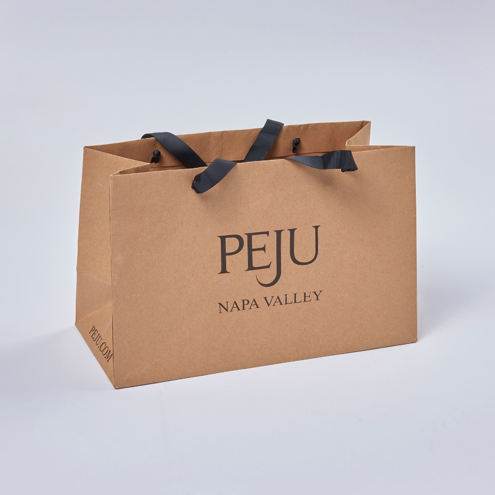 Recyled brown shopping package customized retail kraft paper bag