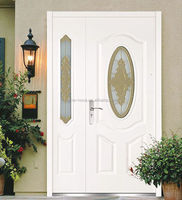 steel door with glass/oval glass entry door
