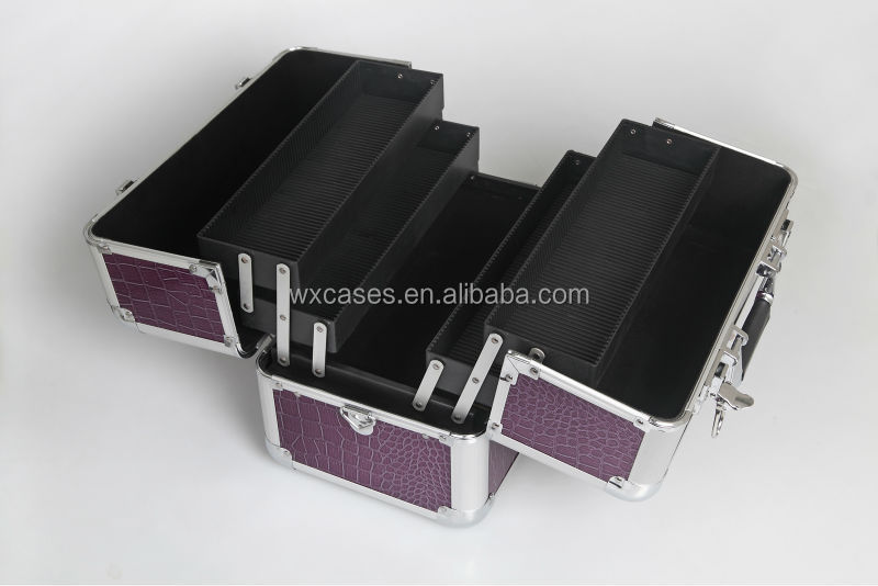 best seller professional aluminum cosmetic case with 4 plastic trays inside manufacturer