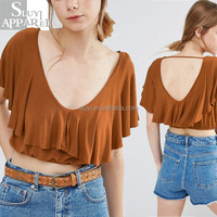 Online shopping latest ruffle crop blouses for women wear wholesale uk flare crop tops clothes women ladies fashion clothing