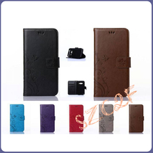 Solid pure color flower pattern wallet card holder leather flip case cover for samsung galaxy v plus