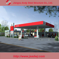 Gas station roof light steel space frame structure design