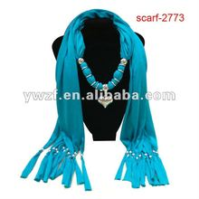 lady jeweled pendant scarf with hand beaded