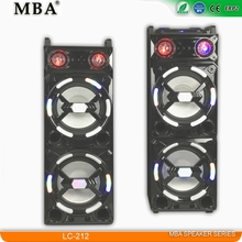 Dual 12 inch 2.0 professional stage speaker with dj disco light