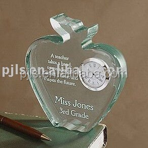 crystal plaque with clock souvenir gift & home deco & office deco