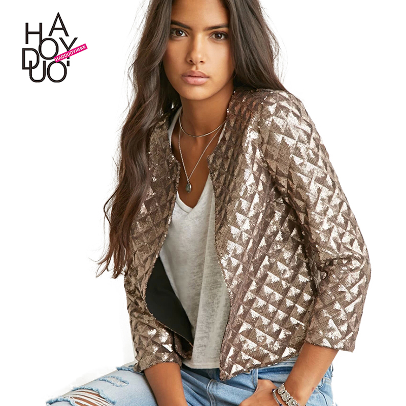 HAODUOYI 2016 Women New Winter Jackets Full Sequines Bling Bling Jackets Three Quarter Sleeves Jackets for Wholesale