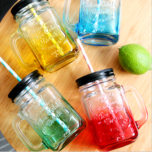 High quality colorful glass mason jar with handles