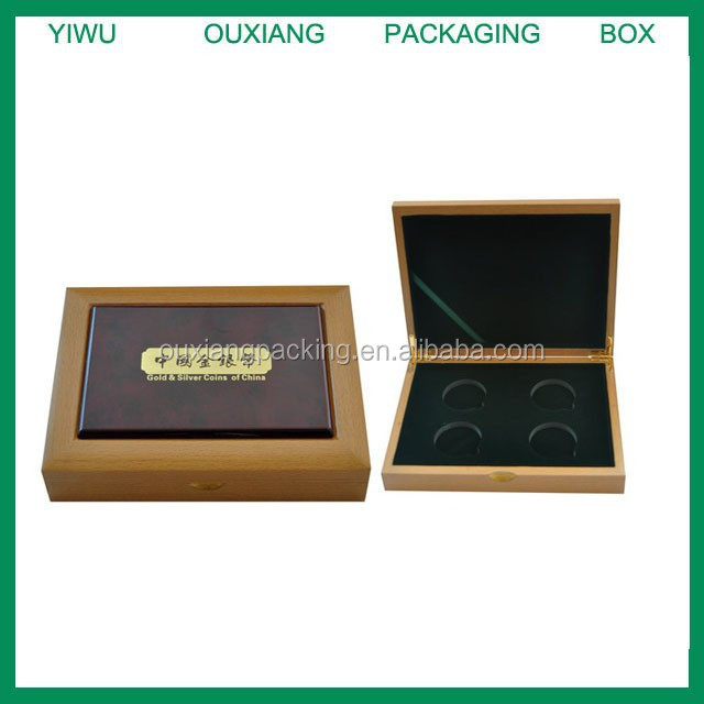 fancy shape hot sale wooden coin box for 4 pcs coin with certificate holder