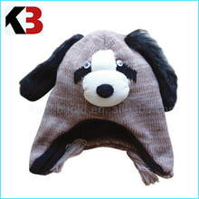 2016 Hot sale factory directly sell machine knit acrylic plain knitted beanie animal thick knit beanie