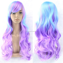 High Quality 80cm Long Wave Blue&purple Color Mixed Synthetic Anime Lolita Wig Cosplay Lolita Hair Wig Party Wig