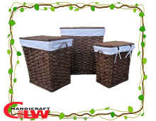 split willow basket , rush hamper and with willow lids and 200g cotton liner , wicker basket with handle