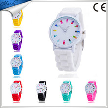 2015 new silicone watches geneva Ladies quartz casual fashion sports watch 10 colors high quality round dial relog GW024