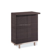 Elegant design home used poly rattan woven bar table furniture garden mini bar counter