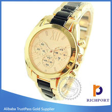 Custom Design Two Tone Silver Gold Watch,Automatic Alloy Lady Watch