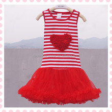 2015 Newest Valentine Day Petti Dress Girl Boutique Dresses Red Chiffon Baby Pettidress