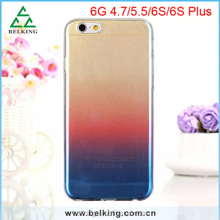 For iPhone 6S Rainbow Gradient Color Blue Change TPU Case With Transflective Drop Resistence For iphone 5S 6S 6S Plus