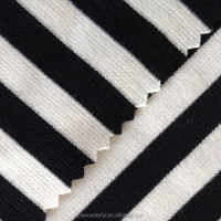Black and white stripe interlock fabric
