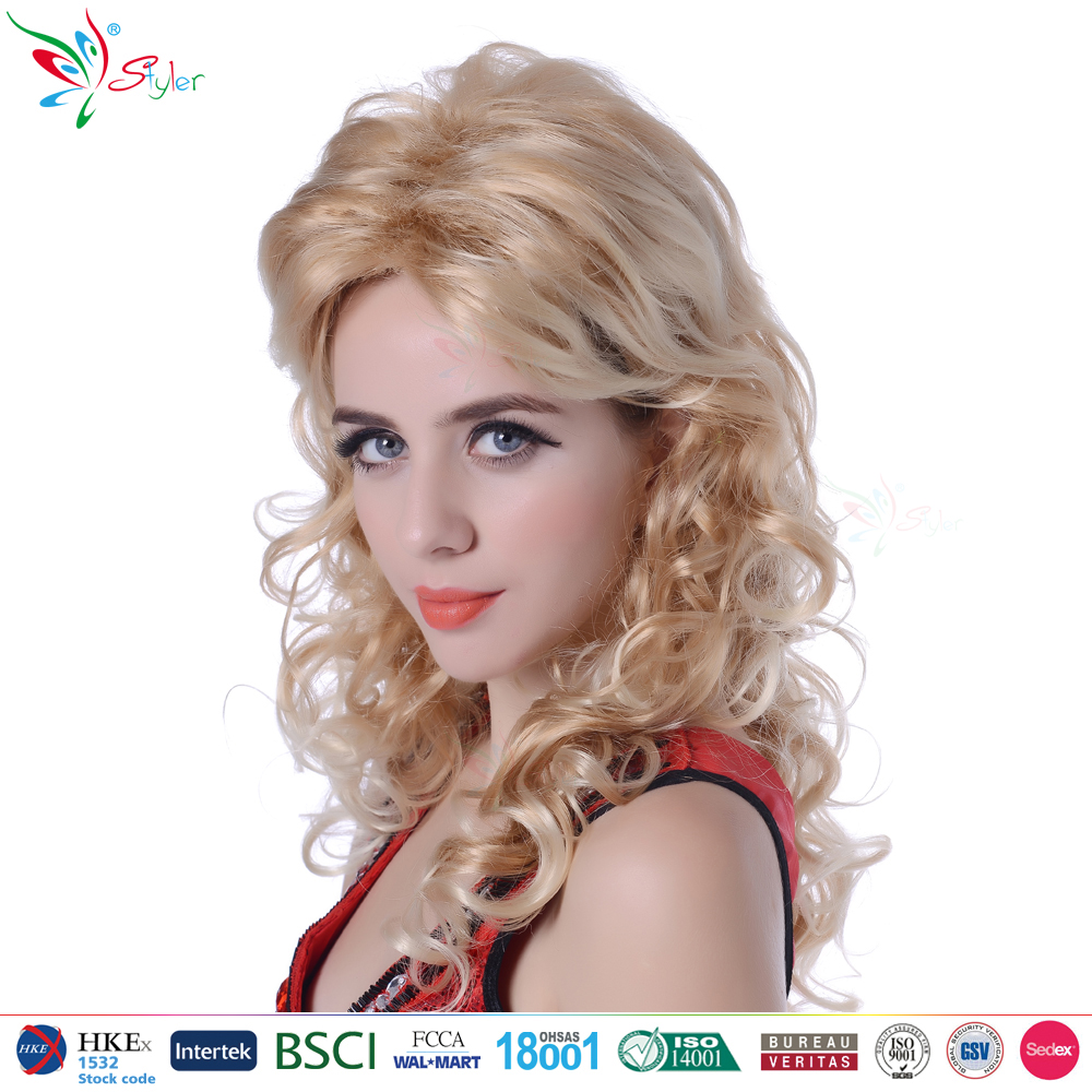Styler Brand sexy girl blonde wigs wholesale hair cheap party long curly synthetic hair wig for women