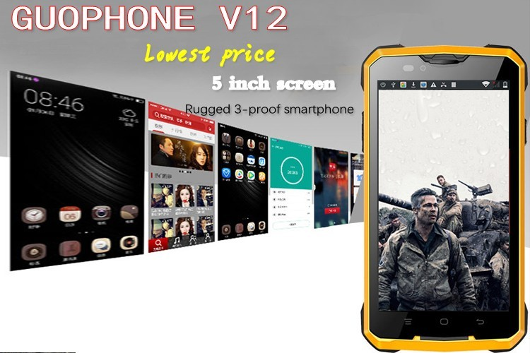 "Guophone V12 Shockproof Dustproof Smartphone 5.0"" MTK6572 Dual Core 512M RAM 4G ROM Android 4.4 Dual SIM 3G WCDMA mobile phone"