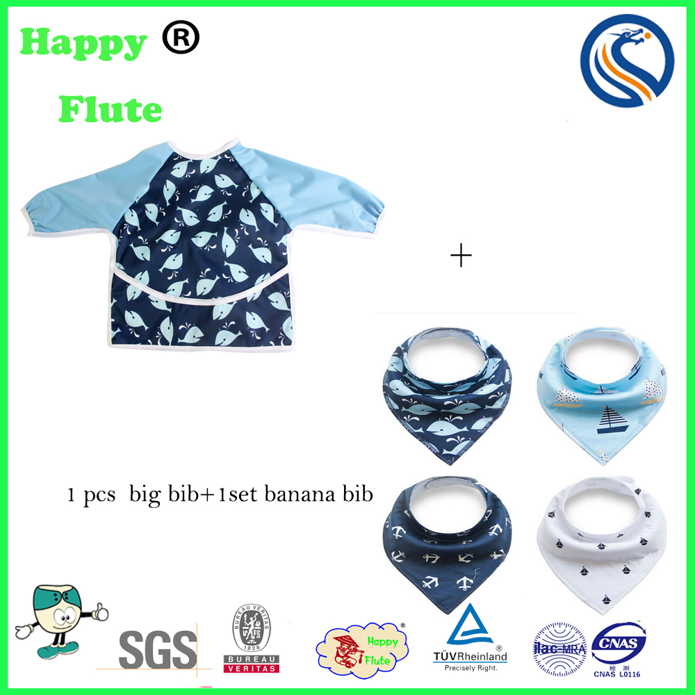 HappyFlute wholesales Waterproof Cute Printed Long Sleeved Baby Bibs+1 sets banana