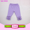Purple cotton baby girl triple ruffle pants wholesale sew sassy icing legging