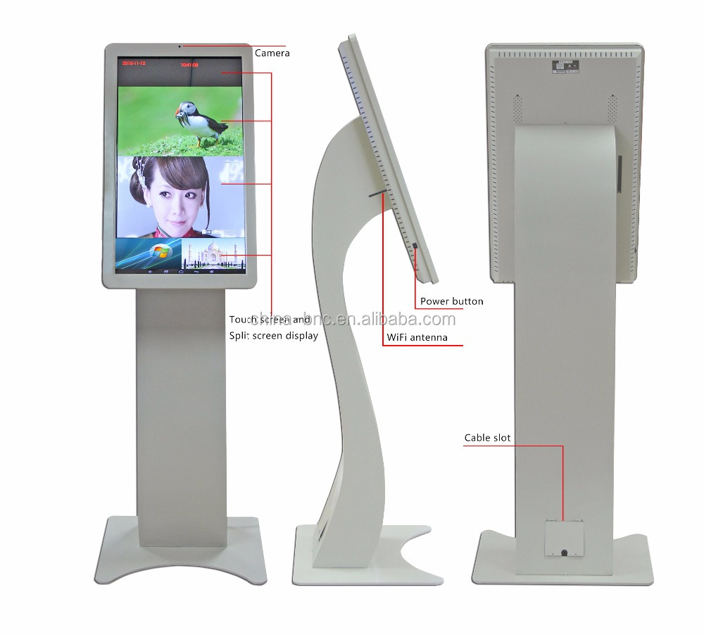 floor standing 32 inch touch screen monitor/ all in one kiosk