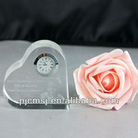 wholesale Heart Shape Crystal glass Clock As Wedding decoration Gift souvenirs 3d laser engrave