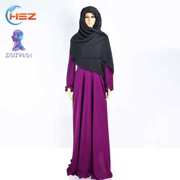 Zakiyyah 884 New Chiffon Style Evening Dress Purple Abaya of Jeddal Long Dress from Dubai