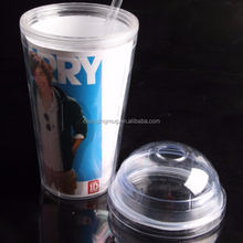 Reusable Cold Color Change Round Ball Shape 450ml Custom Plastic Cup With Straw
