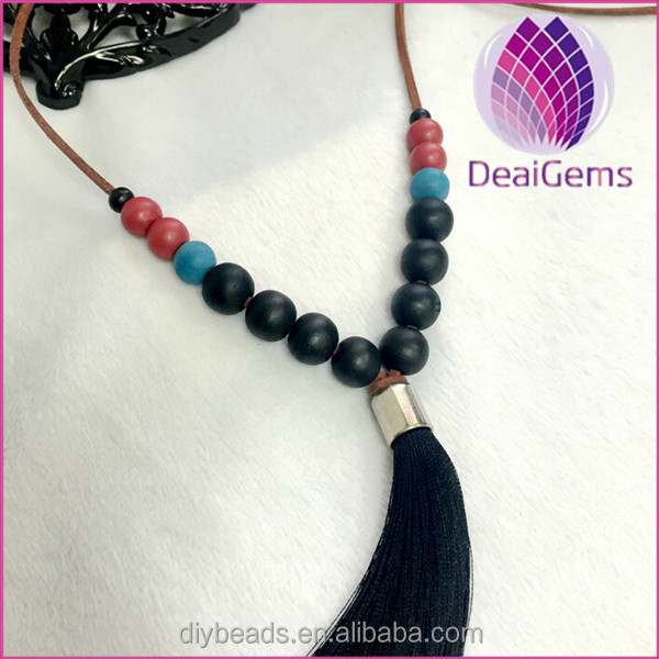 2016 handmade black wood beaded tassel necklace wholesale