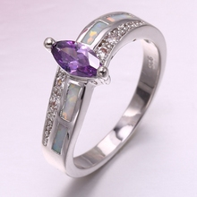 Fashion Jewelry 2018 opal and Amethyst ring