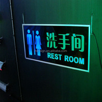acrylic hotel room door toilet guidence sign