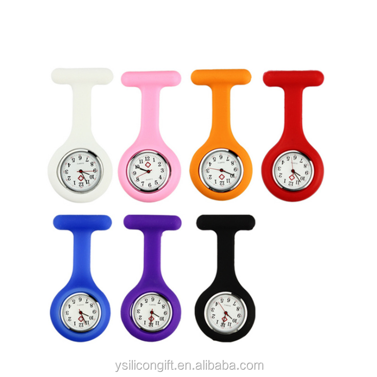 공장 Prices Women's Girls 'Fashion 꽃 간호사 Clip-on Fob 브로치 실리콘 Jelly 걸 이식 Pocket Watch Druable 간호사 표