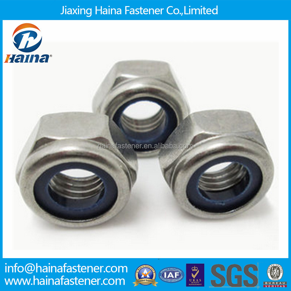 Good quality stainless steel M16 DIN985 Hex Nylon locknut