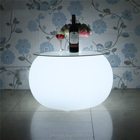 Hot Sale LED Outdoor Illuminated Furniture LED Light Coffee Table Night Club Table With Glass Top