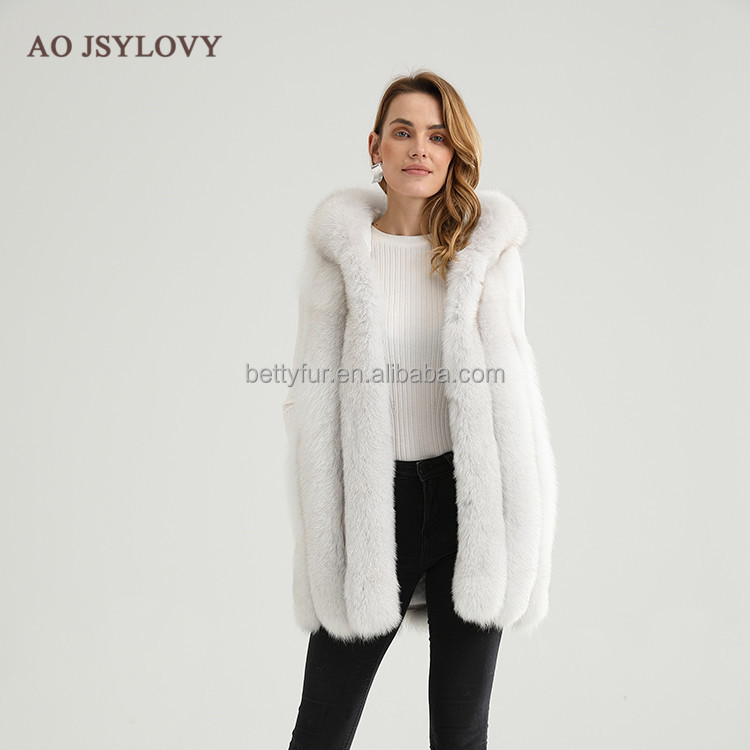 Russian style hooded real fox fur vest women