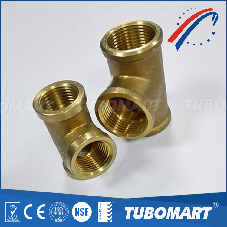 Factory supply general screw fittings brass compression fitting tee for copper pipe