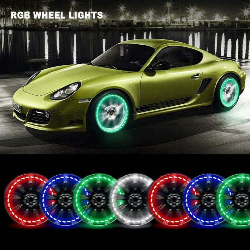 Set of  RGB LED Wheel Ring Lights IP68 Dream Color Chasing 288LEDs Blue-tooth Control