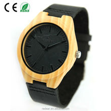 2017 Hot sale cheap Bamboo wooden watch with leather strap