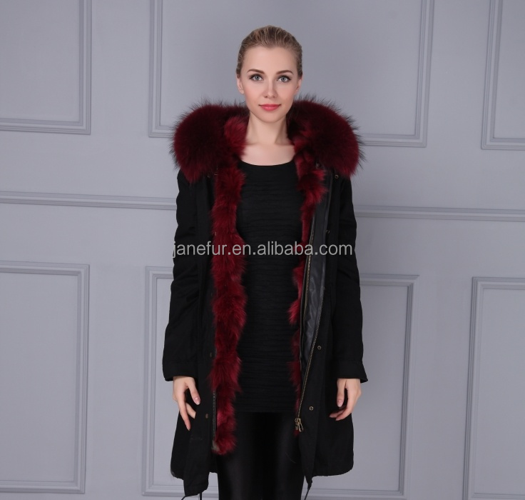 Korean Style Fashion Winter Coat Parka With RaccoonFur Hood And Real Fox Fur Lined Black Cotton Shell Overcoat