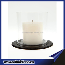 House decoration natural black slate stone material art crafts series round candle holder