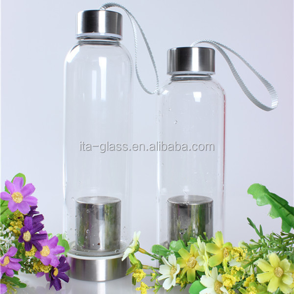 450ml heat resistant glass sport water bottle with fruit infuser food grade high quality mineral water drinking bottle for sale