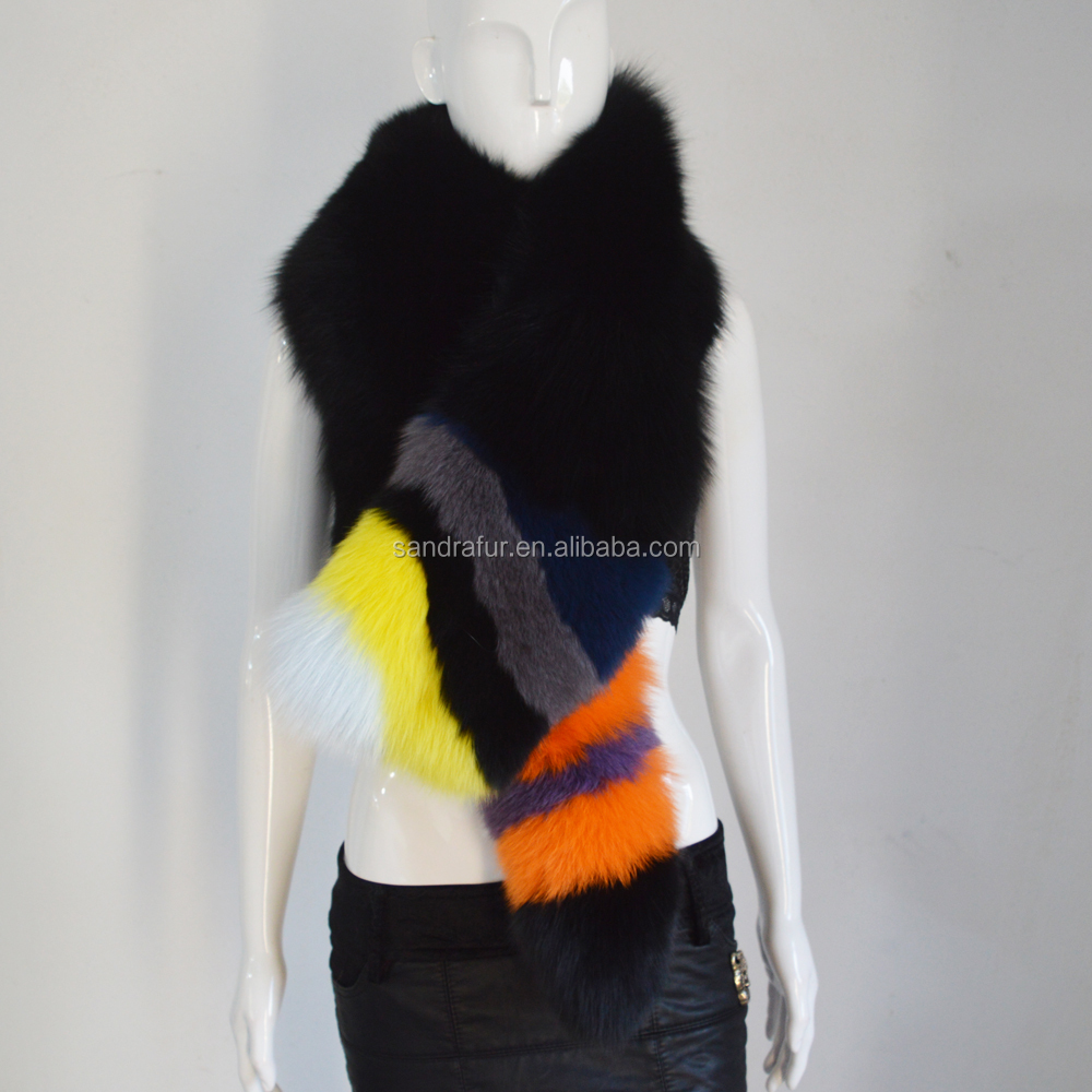 SJ783 Milan Fashion Show Luxury 100% Real Fox Fur Scarf with Tails