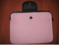 pink neoprene laptop sleeve with snap fastener