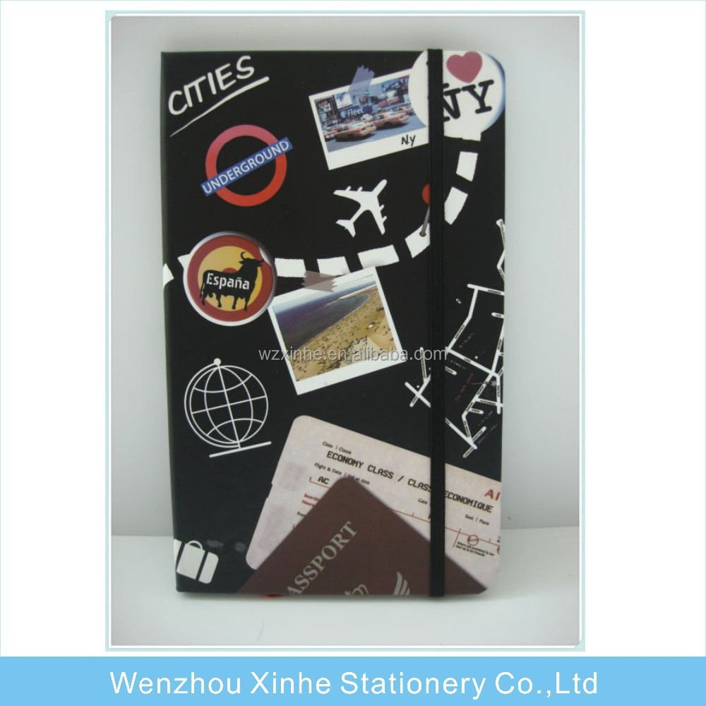 custom A5/A6 paper cover travel Diary with elastic closure